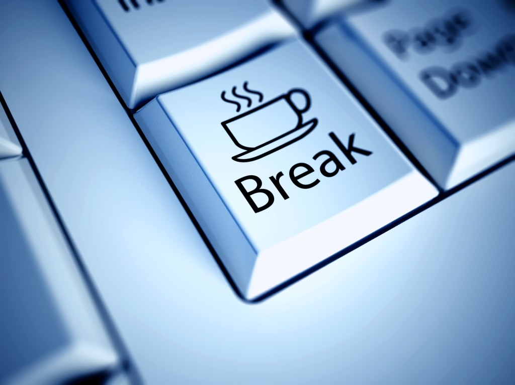 Keyboard and Coffee Break button, work concept